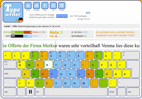 Eine von vielen kostenlosen Schreibtrainer-Webseiten: http://de4.schreibtrainer.com/