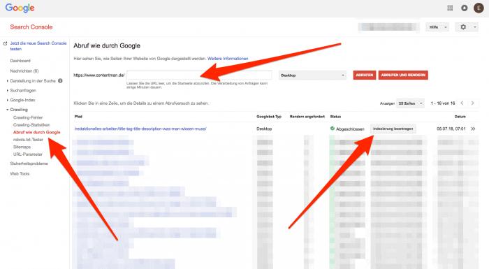 Hier siehst du, wo du in der Search Console deinen Text neu Crawlen UND dann indexieren lassen kannst.