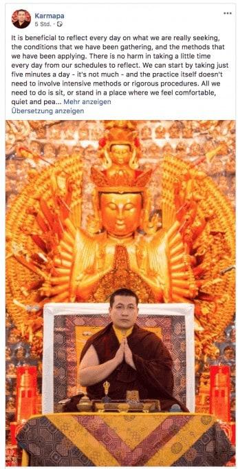 Moderner Buddha: Der 17. Karmapa lehrt seine Praxis auch auf Facebook.